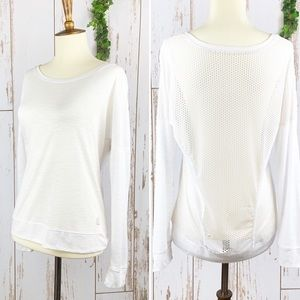 Balance Collection White Mesh Back Yoga Tee EUC